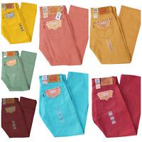 Premium Levis Mens 501 Jeans Original Shrink to Fit Raw Denim Blue Yellow Red