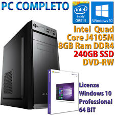 PC COMPUTER DESKTOP NUOVO WIN 10 ASSEMBLATO INTEL QUAD CORE RAM 8GB SSD 240GB