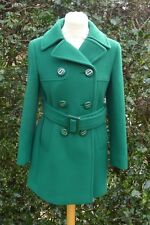 SUPERB  PRADA AW 2017 EMERALD GREEN BELTED DOUBLE BREASTED COAT Size IT 38 UK 6