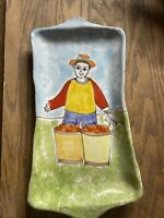 Nino Parrucca Man w/ Fruit Basket Hand Painted Italian Pottery Serving Dish Tray