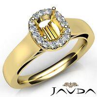 14k Yellow Gold Cushion Diamond Engagement Halo Prong Set Semi Mount 0.2Ct Ring