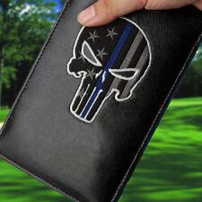 Black Punisher Skull Blue Line Golf Scorecard Yardage Book Cover Holder New