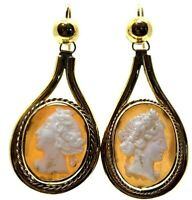 Antiques Cameo Drop Dangle Earrings with 9 Carat Yellow Gold Hooks Circa 1870