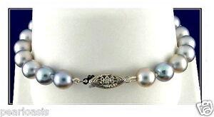"7.5-8MM Silver Gray Akoya Pearl Bracelet; 14K White Gold Clasp; 7"", NEW"