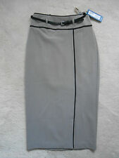 M&S Beige Long Office Straight Pencil Skirt with Belt (NEW)-UK size 6-£35.00