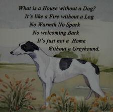 GREYHOUND DOG WATERCOLOUR PRINT HARDBOARD PLAQUE TILE SANDRA COEN ARTIST
