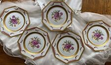 ANTIQUE 1920'S ROSENTHAL KINGS ROSE PORCELAIN GOLD SELB BAVARIA SALAD PLATE 5 PC