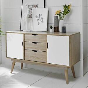Scandinavian Large Sideboard Retro Cupboard Cabinet Unit Scandi Buffet White Oak