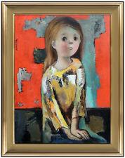 Jose Montanes Original Painting Oil On Board Signed Child Girl Portrait Artwork