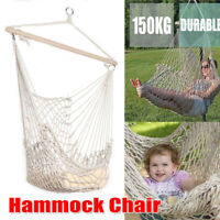 Heavy Duty Hanging Cotton Hammock Swing Chair Solid Rope Camping Patio Outdoor