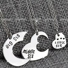 Xmas Gifts for Her 3 Silver Sisters Heart Necklaces Big Sis Lil Best Friends 11T