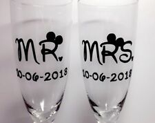 Mr & Mrs Disney Champagne Flutes With Windowed Gift Box