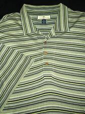 TOMMY BAHAMA POLO SHIRT -2XLT TALL- BLACK GRAY GREEN STRIPE -SLIK BLEND -GOLF