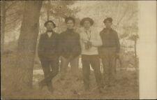 4 Young Men in Woods w/ Binoculars & Rope c1905 Real Photo Postcard