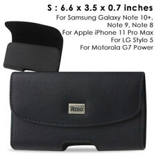 REIKO Leather Carry Phone Pouch Belt Clip Case for Galaxy/iPhone+ (6.6x3.5x0.7)