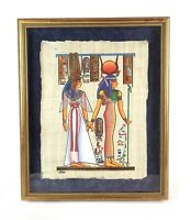Vintage Egyptian Mythology Papyrus Painting Artwork Signed Jin Mourad Framed