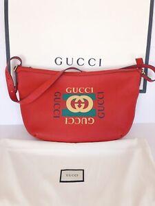 NWT 100% Authentic GUCCI Red Calfskin Half Moon Logo Hobo Bag Unisex