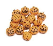 Jack-O-Lantern Pumpkin shaped pony beads Ant. Orange 25pc made in USA Halloween