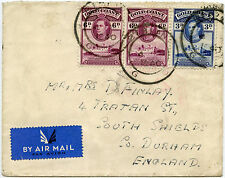 GOLD COAST BIBIANI 1940 UNCENSORED AIRMAIL to SOUTH SHIELDS GB 6d + 6d + 3d