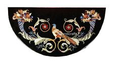 Black Marble Console Table Top with Pietra Dura Art Kitchen Table Bird Design