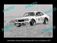 OLD LARGE HISTORIC PHOTO OF DAVID PALMER DRIVING HIS MAZDA RX3 RACE CAR, 1975