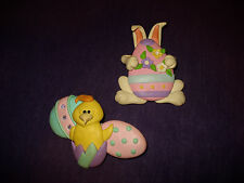 2 VINTAGE JEWELRY EASTER HOLIDAY BUNNY RABBIT & EGG BREAD DOUGH PINS / BROOCH