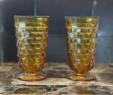 Vintage Anchor Hocking Amber Brown Tall Drinking Glasses 1 Set of 2