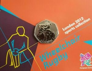 Wheelchair Rugby BU 50P COIN ROYAL MINT CARDED royal mint olympic bu