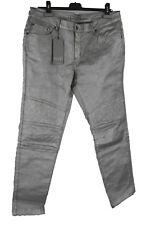Tuzzi Jeans 46 (D) 44 silber mit Glanz Bikerjeans Hose Baumwolle Elasthan neu