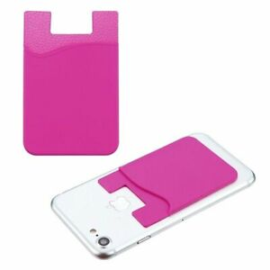Silicone Adhesive Card Pouch Phone Card ID Holder Sleeve Pocket, Hot Pink