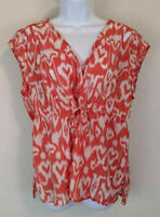 Talbots Orange Sleeveless Top Silk Blend Drawstring Waistline Sheer Plus Size 20