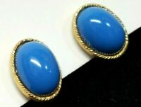 Vintage Turquoise Blue Lucite Oval Cabochon Clip Back Earrings Gold Tone Etched