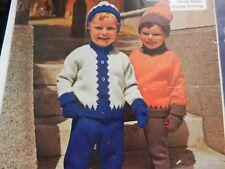 """Knitting Pattern Girl Boy Jacket Jumper Trousers Hat Mittens DK 22-24"""""""