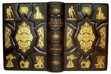 1875 ANTIQUE BIBLE LOOKING GLASS GOD HEAVEN HELL SATAN CHRISTIAN JESUS