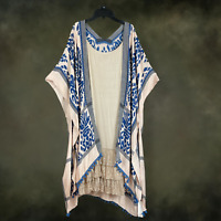 PLUS SIZE BLUE BOHO Peasant HIPPIE  HI LOW KIMONO WRAP CARDIGAN DUSTER ONE SIZE
