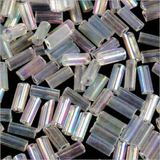 Perles de Rocailles Tubes en verre Transparent 4x2mm Cristal AB 20g