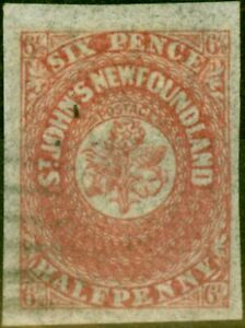 Newfoundland 1862 6 1/2d Rose-Lake SG21 V.F.U