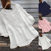 ZANZEA UK Women Puff Sleeve Enbroidery Shirt Casual Loose Baggy Solid Top Blouse