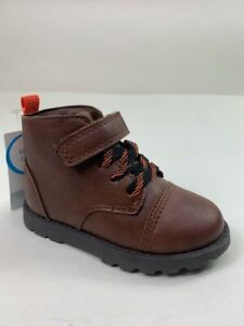 Carters Toddler Boys Andres2 Ankle Boots Brown Black Lace Up Hook & Loop 7 New