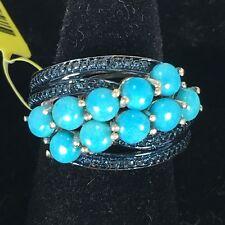 Arizona Sleeping Beauty Turquoise, Blue Diamond Platinum Over Silver Ring sz 6