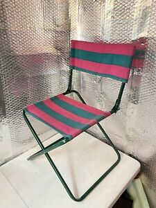 Foldable Mini Vintage Kids Chair Outdoors 27 In Made In Italy Green Pink/ Purple