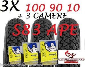 SET 3 COPERTONI GOMME 100 90 10 S83 + CAMERE MICHELIN PIAGGIO APE 50 PNEUMATICO
