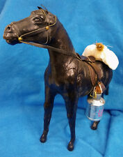 Byers Choice Carolers Black Leather Pack Horse w/ MilkCan & Cow Bell