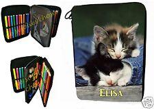 trousse à crayons école garnie petit chat personnalisable prénom choix réf 25