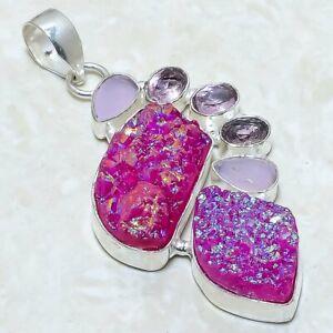 "Pink Titanium Druzy, Kunzite Gemstone Silver Jewelry Pendant 2.5"" PRJ6007"