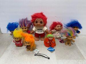 9 Vintage TROLL Dolls Trolls NORFIN Fan Club Large Size NFL Curlers Jewel Russ