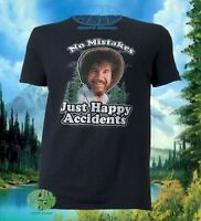 New Bob Ross Mens No Mistakes, Just Happy Accidents T-Shirt