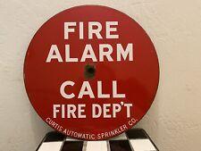 Vintage Porcelain Sign  FIRE - ALARM Call Fire Dept Sign
