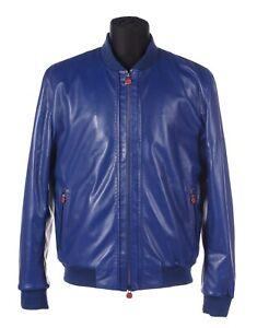 $8840 Kiton Napoli 20SS Blue Lambskin Leather Bomber Jacket Wool&Handmade 42-52
