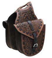 Showman MEDIUM OIL Floral / Basket Weave Tooled Leather Horn Bag! NEW HORSE TACK
